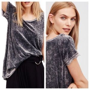 FREE PEOPLE Washed Velvet Doran Tee Gray S